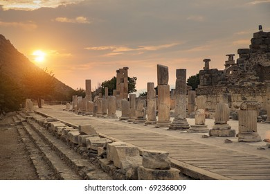 Sunset in ancient ruins of Ephesus Turkey