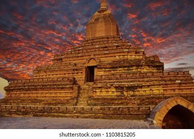 Sunset, Ancient stupas and temples on the plains of Bagan Myanmar (Burma)