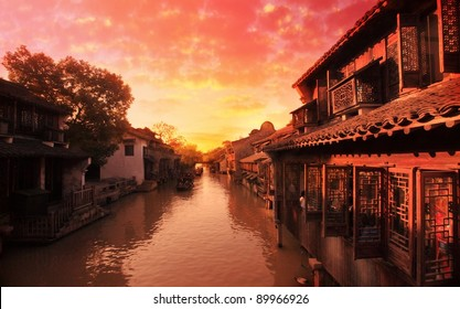 Sunset in an ancient water village in China