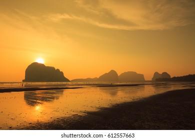 Sunset at andaman sea in Thailand.