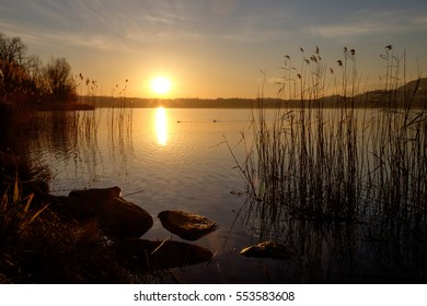 Sunset in Annone Lake
