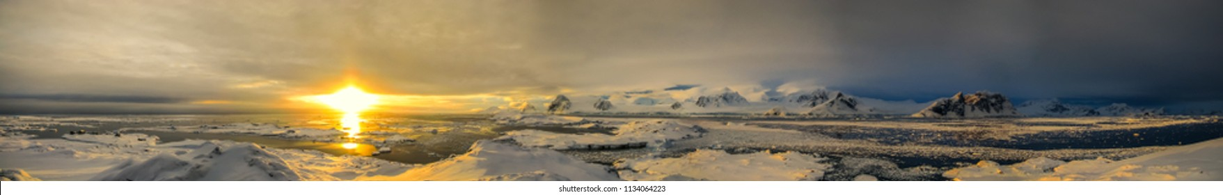 Sunset in Antarctica. Shot from the Galindez Island, 2008.
