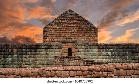 "Sunset in the archaeological complex ""Ruinas de Ingapirca"", also known as the temple of the sun. Built by the Cañari and Inca cultures. Located in the province of Cañar in Ecuador. Image at the front"