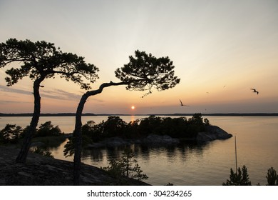 Sunset in the archipelago outside Stockholm, Sweden
