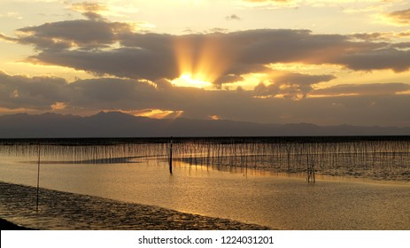 Sunset in Ariake Sea,Ariake Sea of Kyushu, Japan