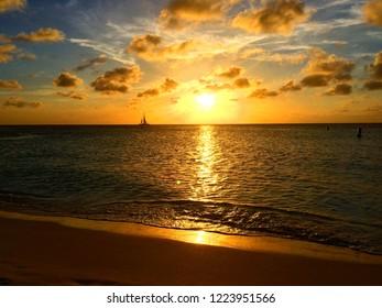 Sunset in Aruba, Caribbean