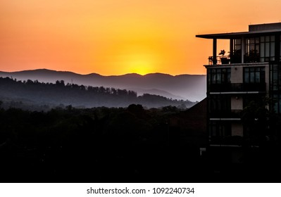 Sunset Asheville, North Carolina looking at the Blue Mountians