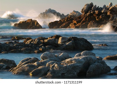 Sunset at Asilomar State Beach and Marine Reserve, Pacific Grove, near Monterey and Carmel, California, USA
