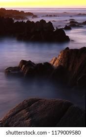 Sunset at Asilomar State Marine Reserve and Beach, Pacific Grove, near Monterey, California, USA