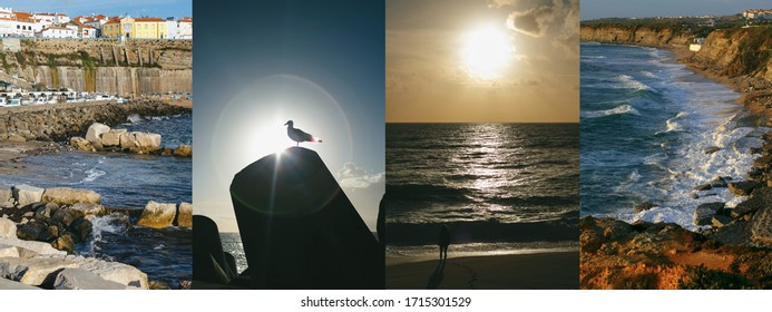Sunset in Atlantic ocean photo collage, Ericeira, Portugal. Beautiful beaches with old houses, seagull in the sun, coastline, picturesque views.