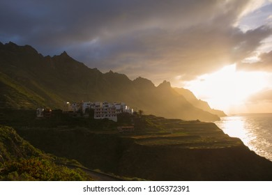Sunset in Atlantic ocean. Taganana, Benijo, Tenerife Island