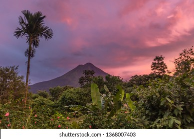 Sunset in August 2018 over the Arenal Volcano of Costa Rica