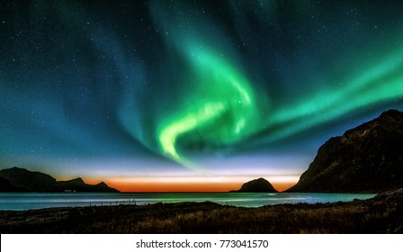 Sunset Aurora. Shot at Haukland beach in Lofoten islands