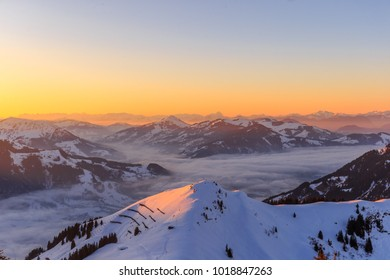 Sunset at Austrian Mountain Range in Winter