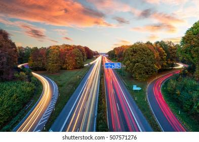 sunset at the autobahn in Aachen