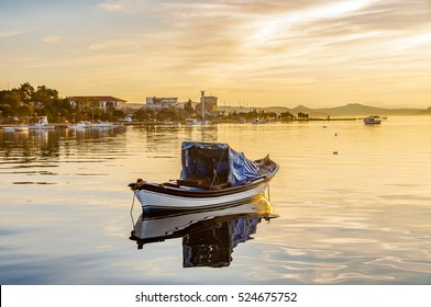 The sunset of Ayvalik in Aegean Sea