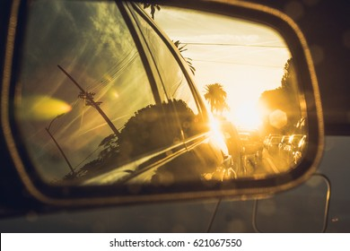 Sunset in back mirror / California