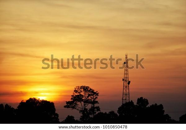Sunset Background Image Silo Image Send Technology Stock Image 1010850478