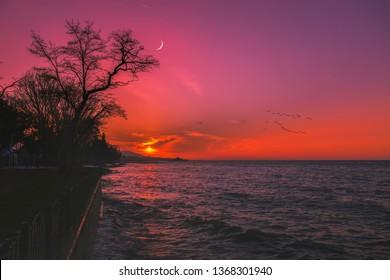Sunset. Background photo of landscape. Yalova, Bursa, Turkey.