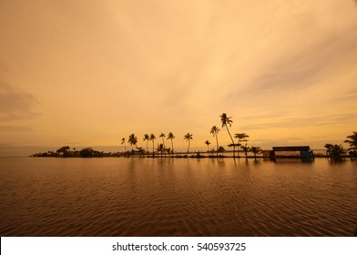 sunset in the backwater, Evening scene at the backwaters of Kerala, India