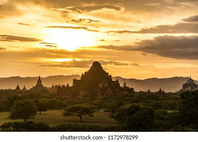 The sunset of Bagan, Myanmar is an ancient city with thousands of historic buddhist temples and stupas.