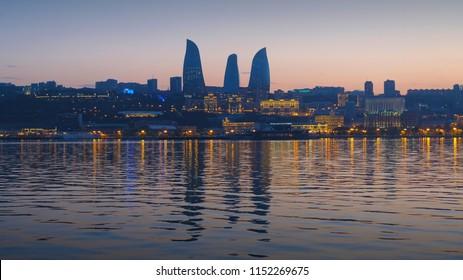Sunset in Baku with amazing skyline.