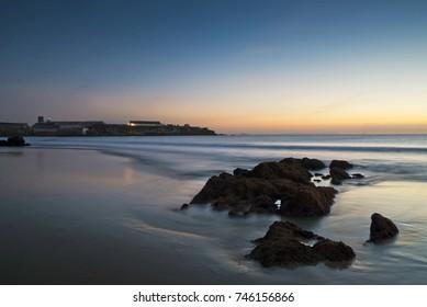 Sunset at balneario spot, Los Lances beach, Tarifa, Cadiz province, Andalusia region, Spain