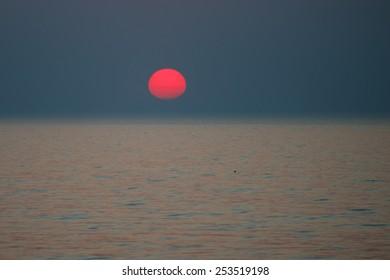 Sunset in Baltic sea in autumn