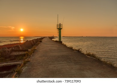 Sunset in the Baltic Sea in Latvia