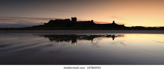 Sunset at Bamburgh Castle, Northumberland, in North East England.