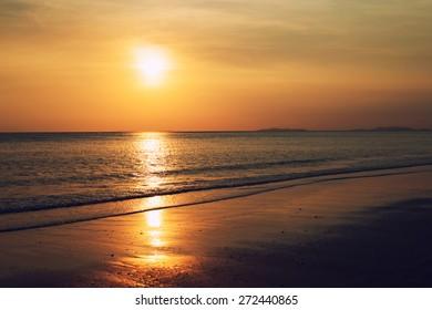 Sunset at Bangben beach,Ranong province,south of Thailand