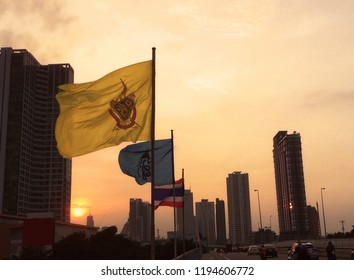 Sunset in Bangkok with National Flags