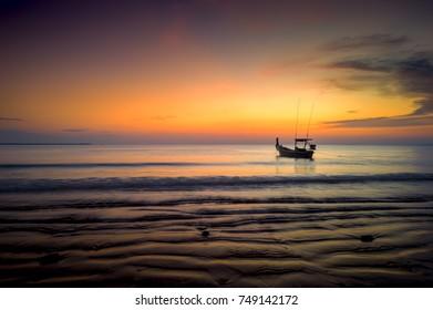 Sunset from Bangsak Sexy Beach at Khao Lak beach, Takua Pa District, Phang-nga, Thailand