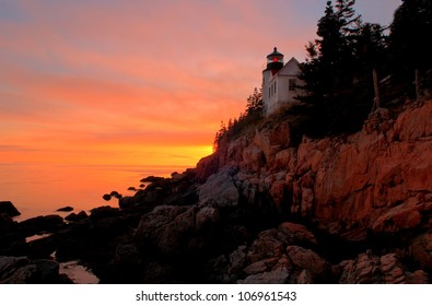 Sunset at Bass Harbor Lighthouse in Bar Harbor, Maine