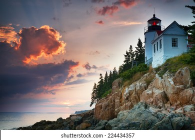 Sunset at Bass Harbor Lighthouse, Mount Desert Island, Maine, USA