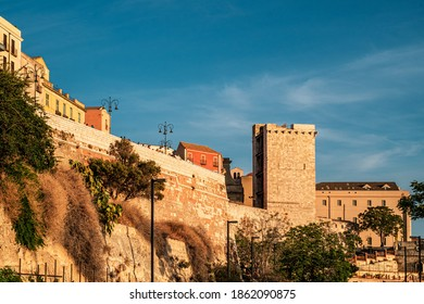 The sunset at the bastions of the city of  Cagliari, Sardinia, Italy.