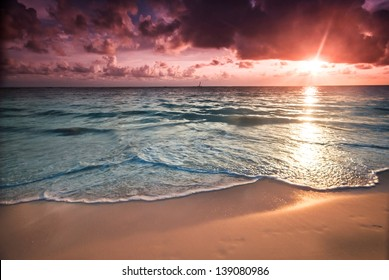 Sunset in Bavaro Beach, Punta Cana, Dominican Republic. Tropical vacation  concept