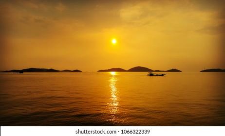 Sunset in bay.
