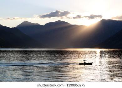 sunset Bay of Kotor Montenegro summer season
