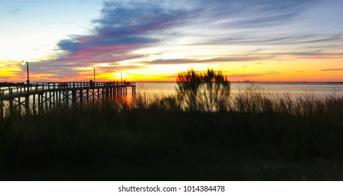 Sunset at Bayfront Park in Daphne, Alabama on Mobile Bay