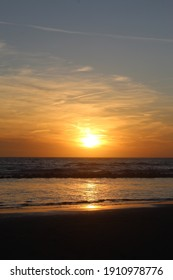 The sunset at the beach.