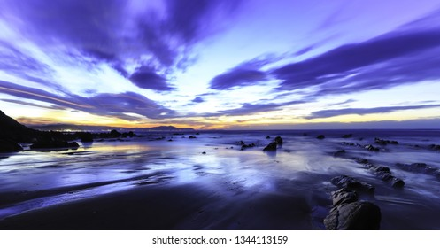 Sunset in the beach of Barrika, in the province of Biscay in the Basque Country, Spain