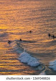 Sunset in beach of Byron Bay. Australia