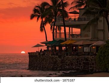 Sunset at the beach, cafe, Hawaii Islands