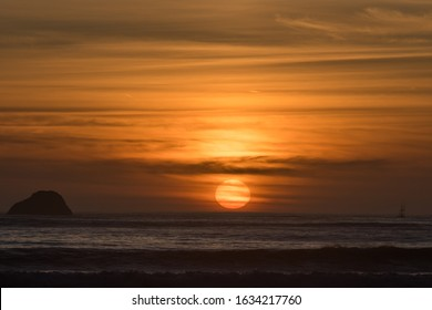 Sunset at the beach, California, Crescent City, Winter