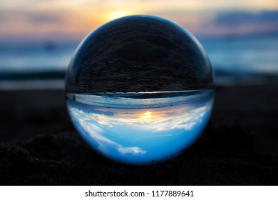 Sunset at Beach Captured in Glass Ball