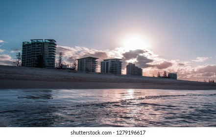 Sunset in a beach at Goldcoast, Australia.
