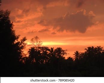 Sunset at the beach of Khao Lak Thailand