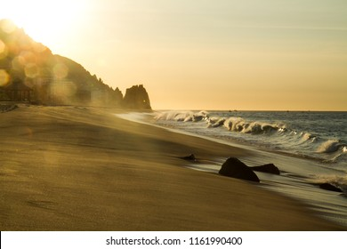 Sunset at the Beach in Mexico, Beautiful Rock Formations, Light