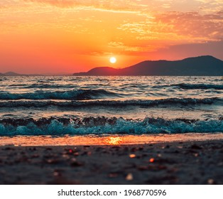 Sunset at Beach with mirror effect - French Riviera